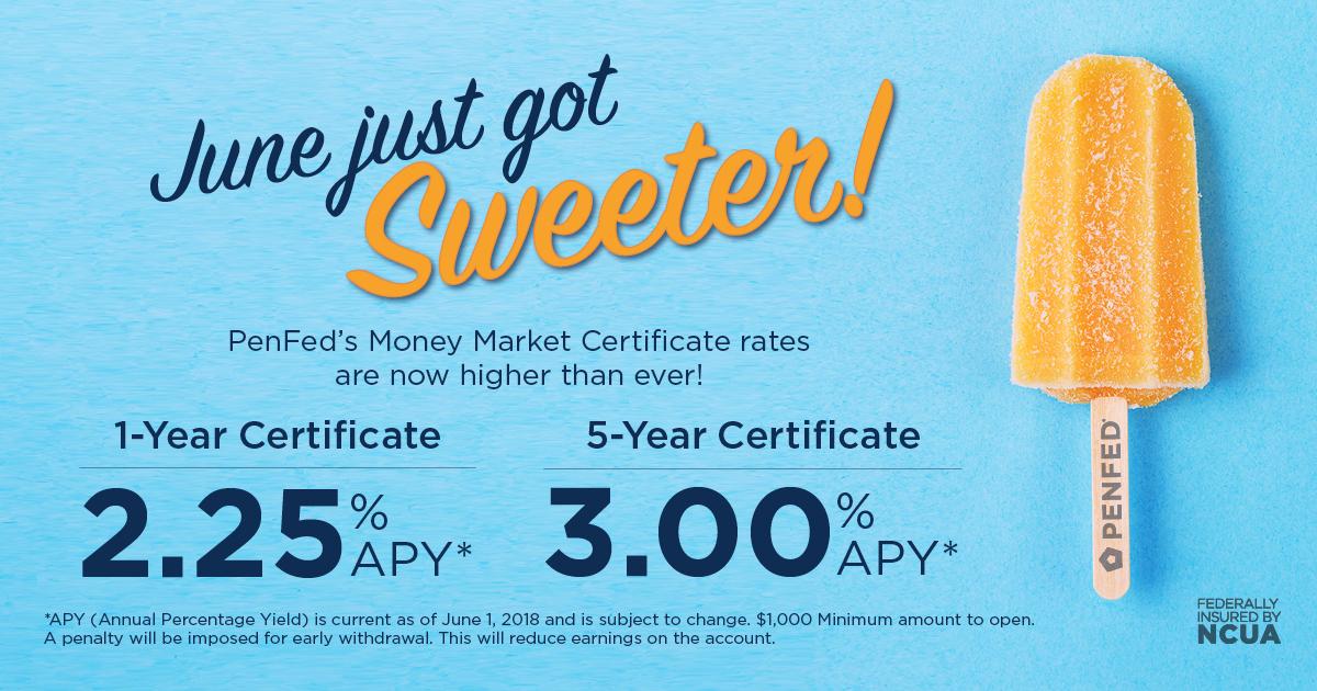 PenFed Credit Union - PenFed Money Market Certificates, June 2018