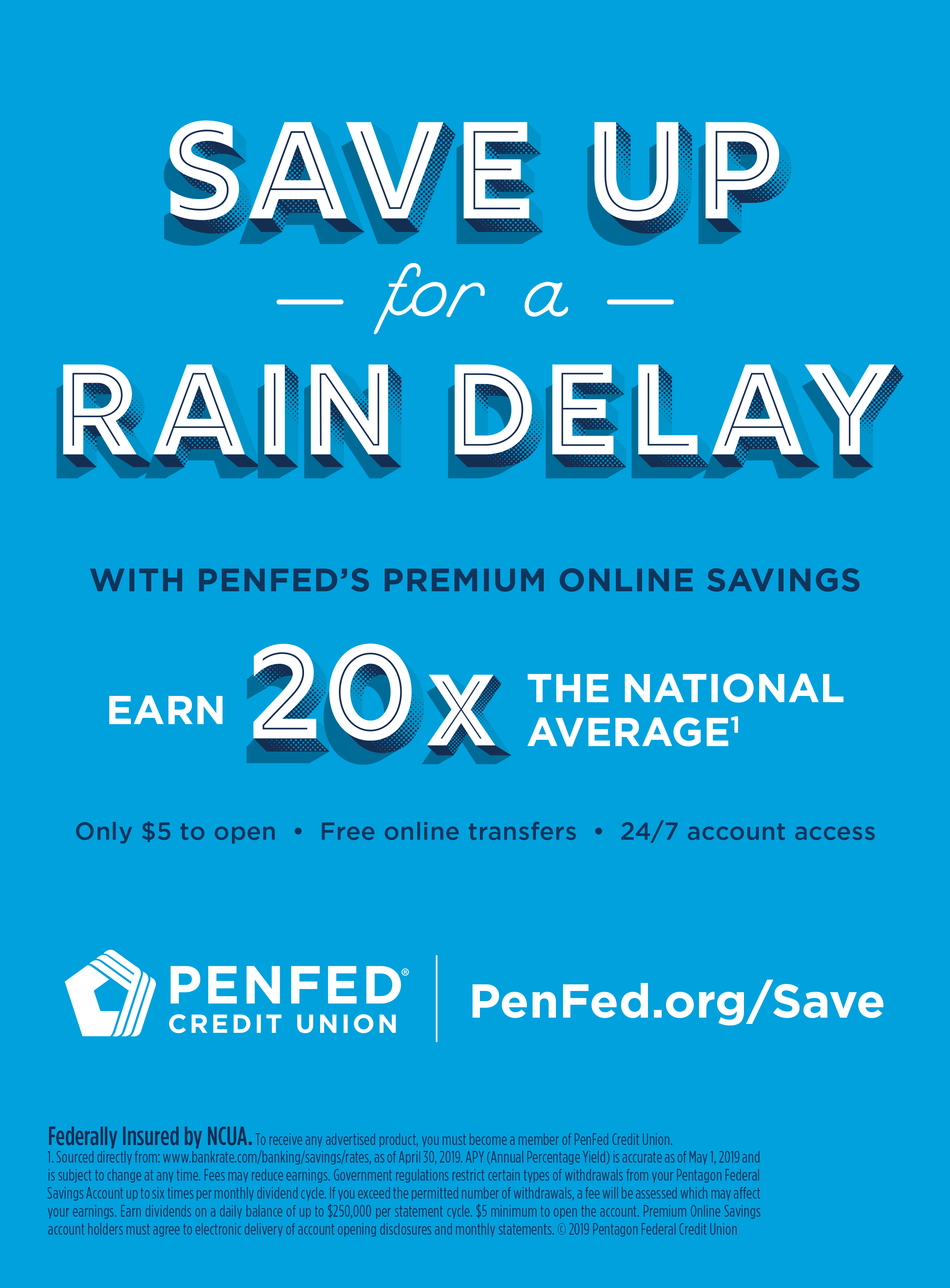 PenFed Credit Union - Save Up for a Rain Delay, NY Yankees Magazine, June 2019